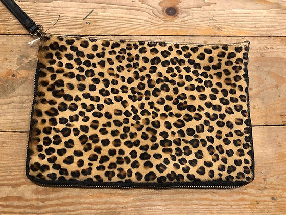Leather Faux Fur Cheetah Clutch Bag with strap