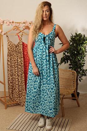 Turquoise Leopard Print Summer Dress S/M