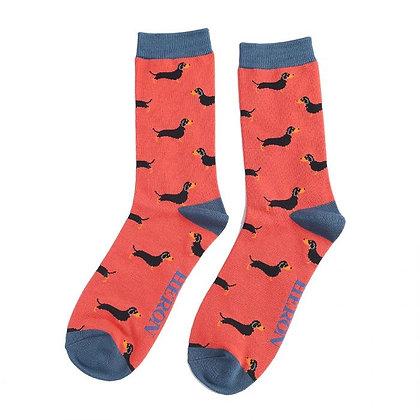Mr Heron Sausage Dog Print Bamboo Socks