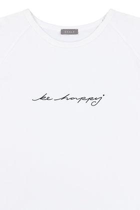 CHALK Darcey T-Shirt   White   Script 'Be Happy'