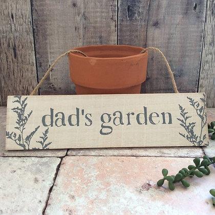 Dad's Garden Wooden Sign