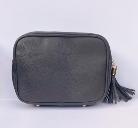 Dark Grey Double Zip Cross Body Bag