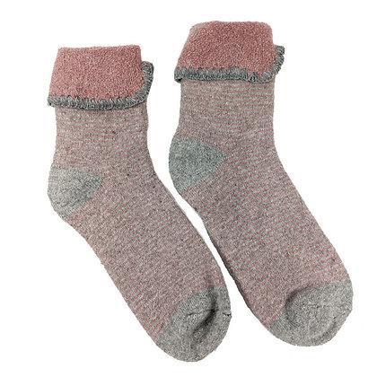 Cosy Wool Blend Cuff Socks Grey/Pink