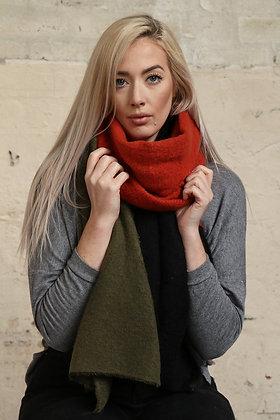 Colour Block Blanket Scarf  - KHAKI/ORANGE