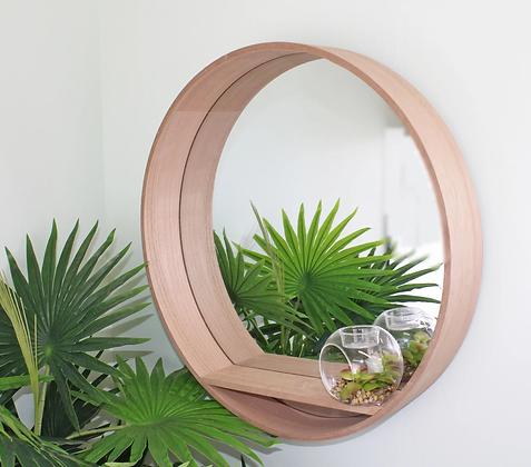 Wooden Mirrored Wall Shelf 50cm