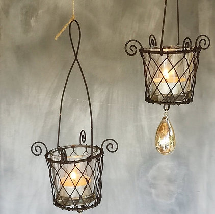 HANGING WIRE BASKET Tea light holderAntiqued finish W/JEWEL