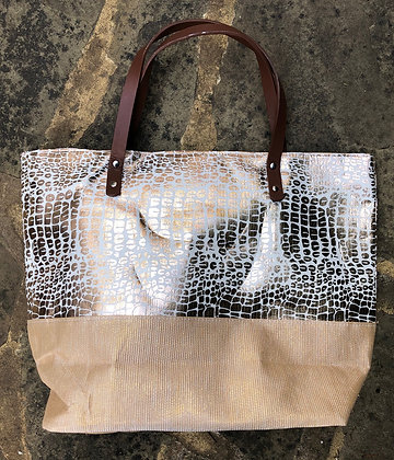 EQUILIBRIUM Metallic Leopard Tote Bag
