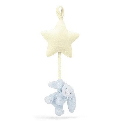 JELLYCAT Bashful Blue Bunny Star Musical Pull