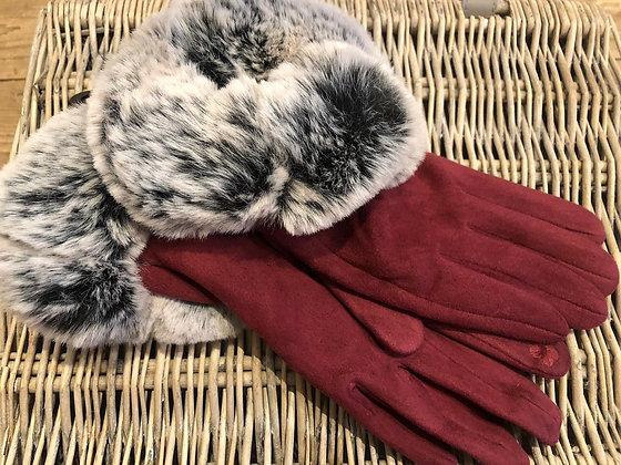 Faux Fur Trimmed Suedette Gloves - RED