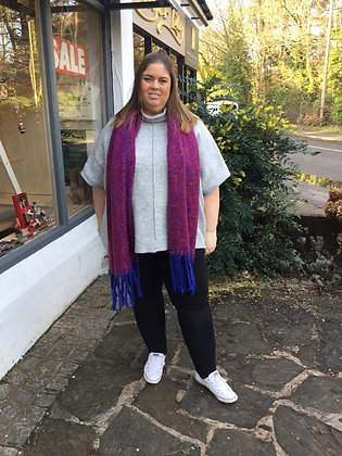 Chunky Knitted Scarf - Electric Blue/Fuschia Speckled