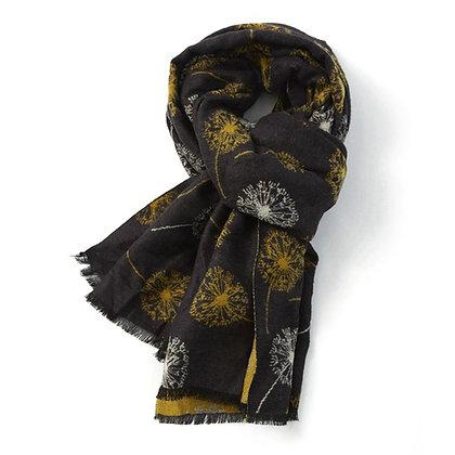 Dandelion Print Scarf BLACK/MUSTARD