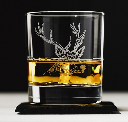 Stag Engraved Glass Tumbler with Slate Coaster Gift Set