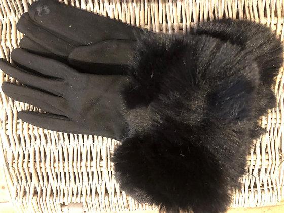 Faux Fur Trimmed Suedette Gloves - BLACK