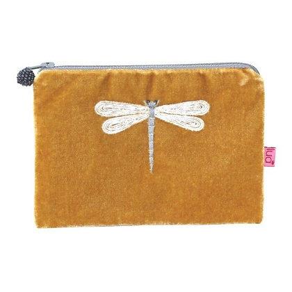 Dragonfly Velvet Purse -MUSTARD