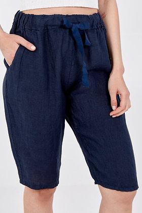 Linen Drawstring Shorts NAVY