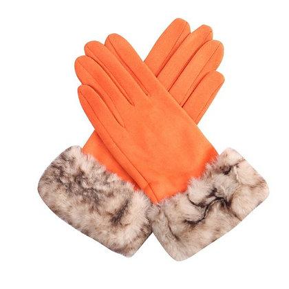 Faux Fur Trimmed Suedette Gloves - ORANGE
