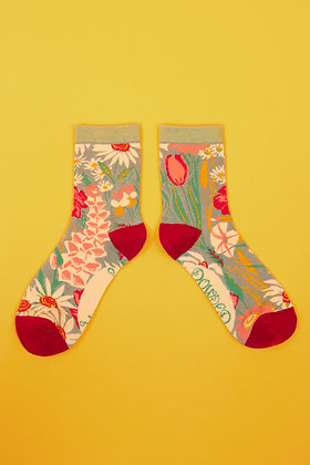 Ladies Ankle Socks Country Garden - Mint