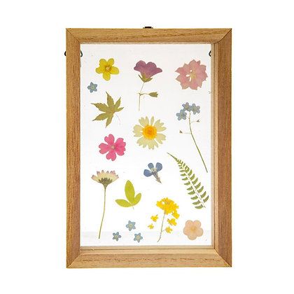 Pressed Flowers in Wooden Frame