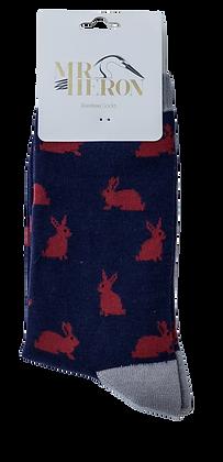 Mr Heron Hare Print Bamboo Socks