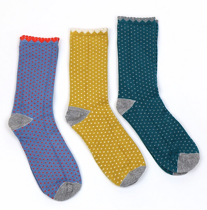 Bamboo dotty ankle sock trio with gift box