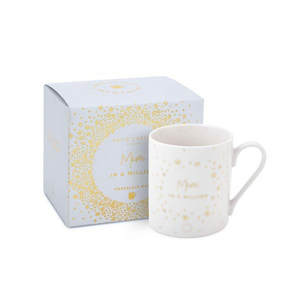KATIE LOXTON BOXED PORCELAIN MUG   MUM IN A MILLION    WHITE AND GOLD