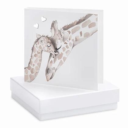 Giraffe Card and Heart Stud Earrings
