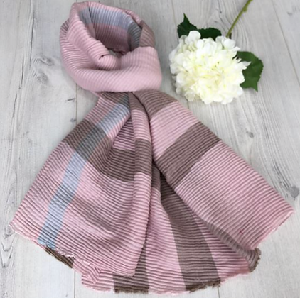 Crumpling Check Winter Scarf -Pink