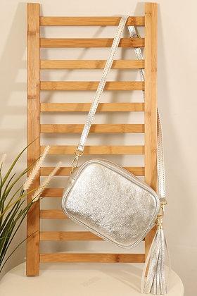 Italian Leather Cross Body Bag Silver
