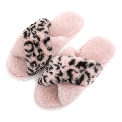 Leopard Print Slippers PINK Size 6-7