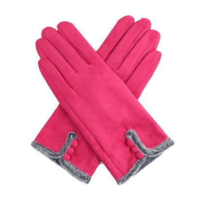 Faux Fur Trim & Button Gloves - PINK