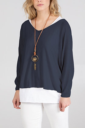 Layered Top with Necklace - NAVY