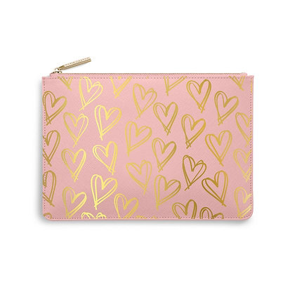 KATIE LOXTON PERFECT POUCH  HEART PRINT in PINK/GOLD