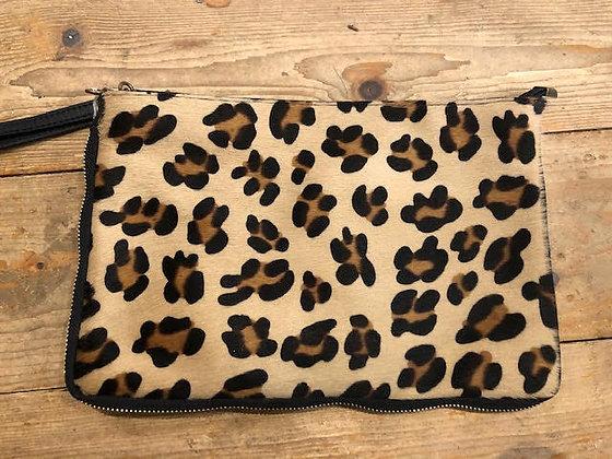 Leather Faux Fur Leopard Clutch Bag with strap