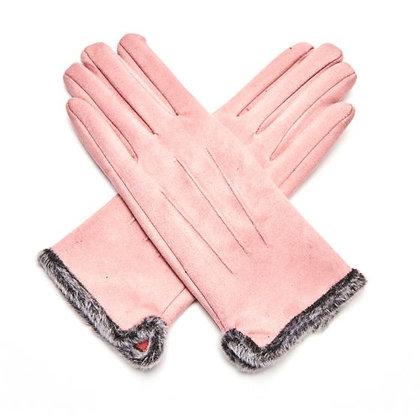 Faux Fur Trim Gloves - LIGHT PINK