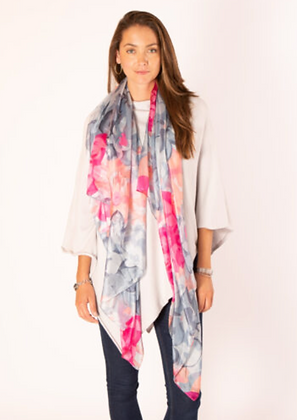 Grey and Pink Floral Large Silk