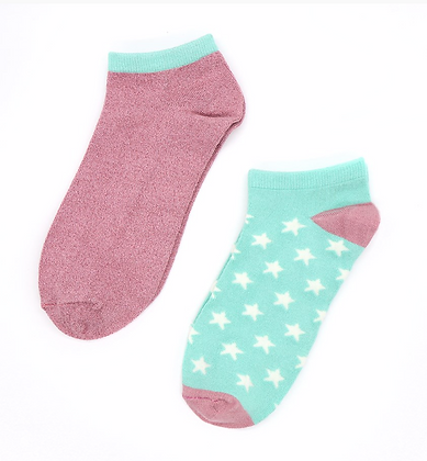 Pink/mint mix trainer sock duo with stars and lurex