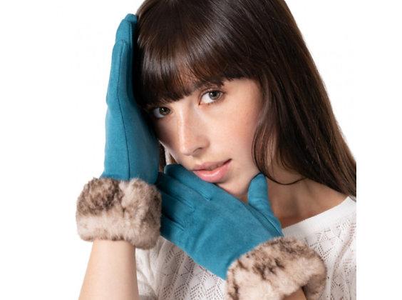 Faux Fur Trimmed Suedette Gloves BLUE