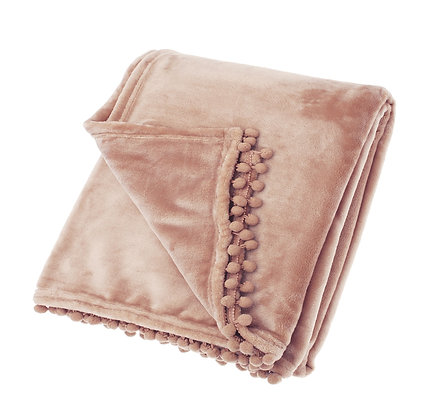 Supersoft cashmere touch throw with pompoms
