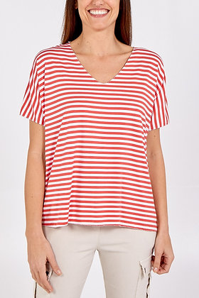 V - Neck Striped T- Shirt - CORAL