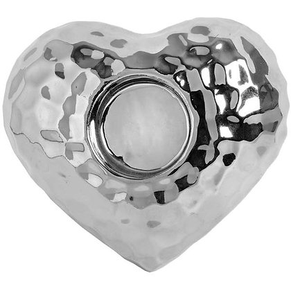 Hill Silver Love Heart Tealight Holder in Dimple Effect