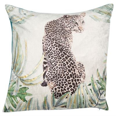 Velvet cushion Jaguar print feather filled
