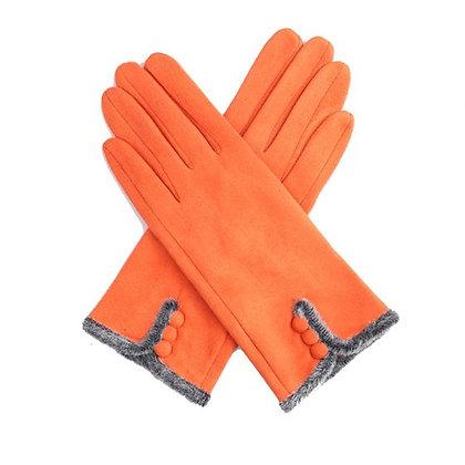 Faux Fur Trim & Button Gloves - ORANGE