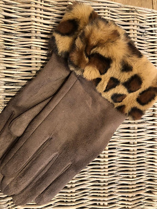Animal Faux Fur Band Gloves- MOCHA