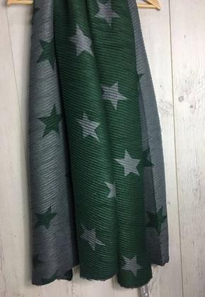 Star Print Crumple Scarf - Green and grey