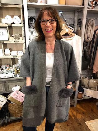Grey Cape with Faux Fur Trim Pockets
