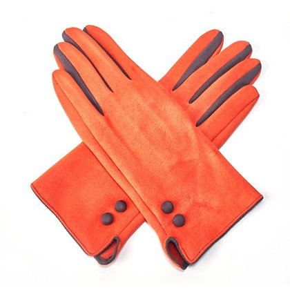 Contrast Button & Finger Detail Gloves - ORANGE