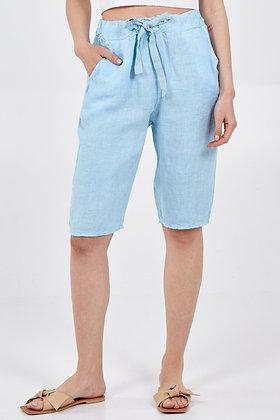 Linen Drawstring Shorts LIGHT BLUE