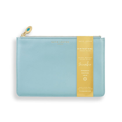 KATIE LOXTON BIRTHSTONE PERFECT POUCH | DECEMBER TURQUOISE | DUCK EGG BLUE