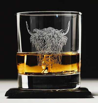 Highland Cow Engraved Glass Tumbler with Slate Coaster Gift Set