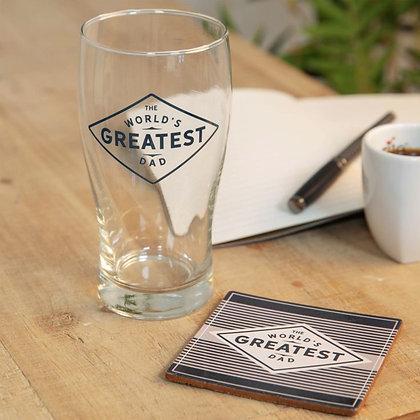 World's Greatest Dad Pint Glass & Coaster Gift Set